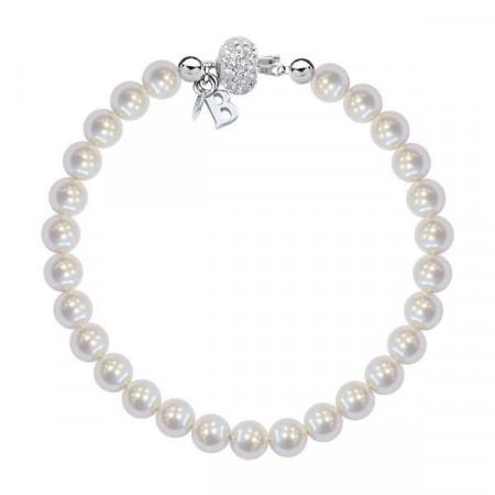 Bracciale in argento con perle Swarovski piccole e boule di strass
