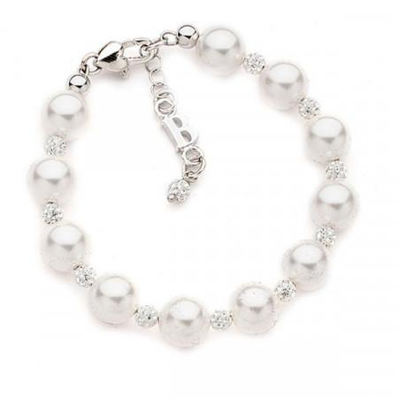 Bracciale con perle Swarovski e pavè di strass