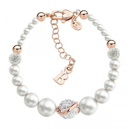 Bracciale in argento placcato oro rosa con perle e strass