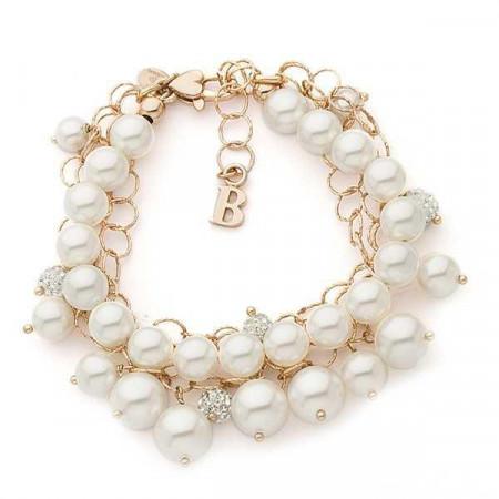 Bracciale multfilo in argento rosato con perle e strass