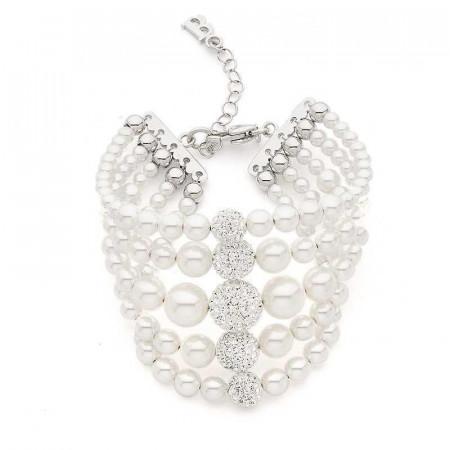 Bracciale in argento multifilo con perle e strass centrali