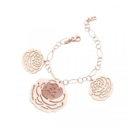 Bracciale in argento rosato con pendente a forma di camelia
