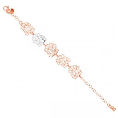 Bracciale in argento placcato oro rosa e rodiato