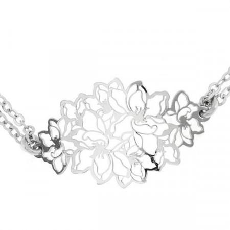 Bracciale in argento con trama centrale dal motivo floreale