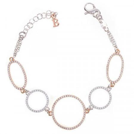 Bracciale in argento con orbite ovali e circolari e zirconi