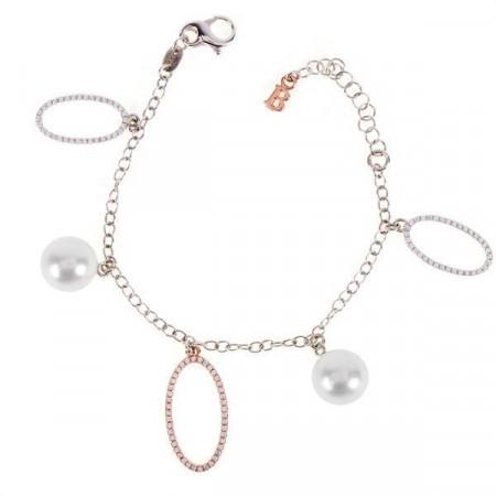Bracciale con orbite bicolor, zirconi e perle Swarovski