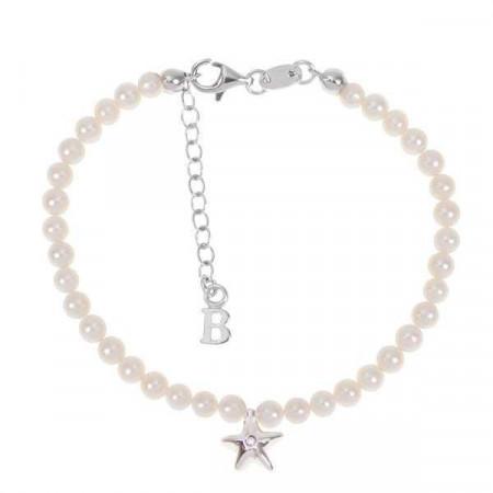 Bracciale con filo di perle naturali, stella centrale e diamante