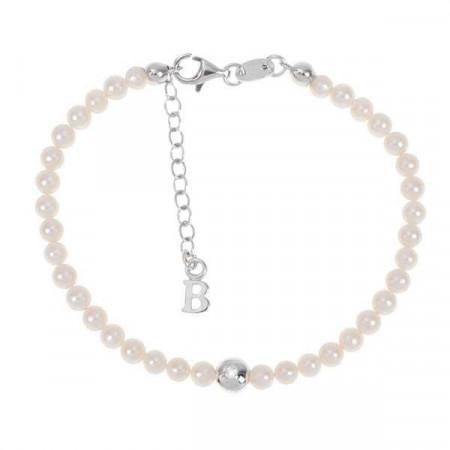 Bracciale con filo di perle naturali, ovale centrale e diamante
