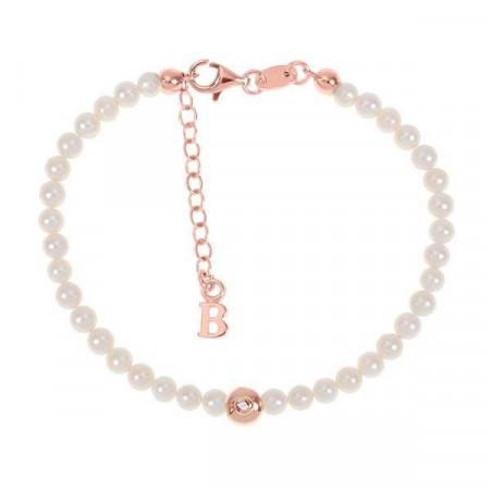 Bracciale rosato con filo di perle naturali, ovale centrale e diamante