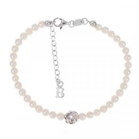 Bracciale con filo di perle naturali,rosa centrale e diamante