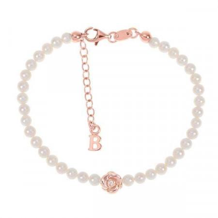 Bracciale rosato con filo di perle naturali,rosa centrale e diamante