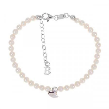 Bracciale con filo di perle naturali, cuore astratto centrale e diamante