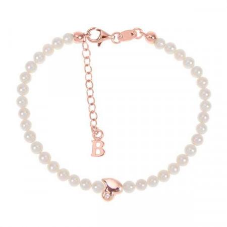Bracciale rosato con filo di perle naturali, cuore astratto centrale e diamante