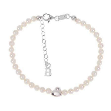 Bracciale con filo di perle naturali, cuore centrale e diamante