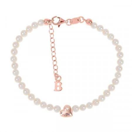 Bracciale rosato con filo di perle naturali, cuore centrale e diamante