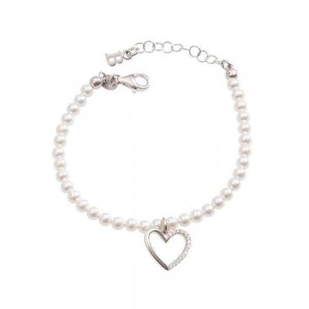 Bracciale di perle Swarovski, argento e cuore di zirconi