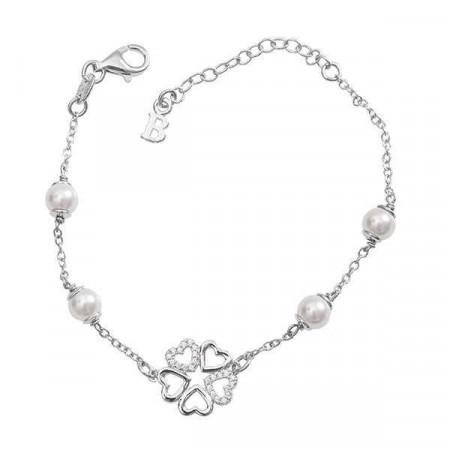 Bracciale di perle Swarovski, argento e quadrifoglio di zirconi