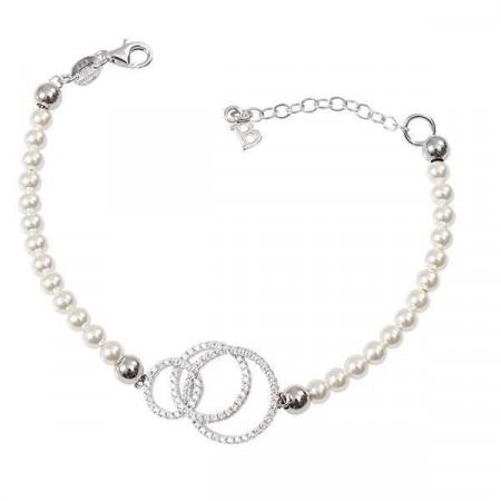 Bracciale di perle Swarovski e centrale concentrico di zirconi