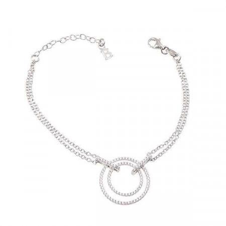 Bracciale doppio filo in argento e zirconi