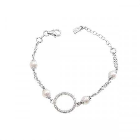 Bracciale in argento doppio filo con perle Swarovski e zirconi
