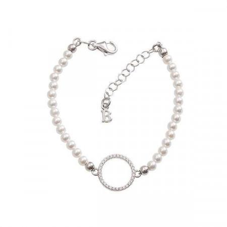 Bracciale di perle Swarovski e centrale di zirconi