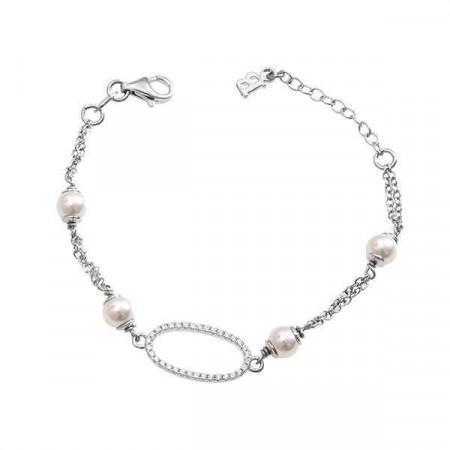 Bracciale doppio filo con perle Swarovski e zirconi
