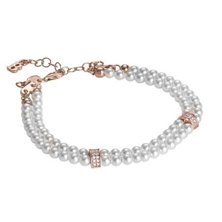Bracciale due fili di perle Swarovski con passanti in argento rosato e zirconi