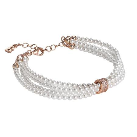 Bracciale multifilo di perle Swarovski, argento rosato e zirconi