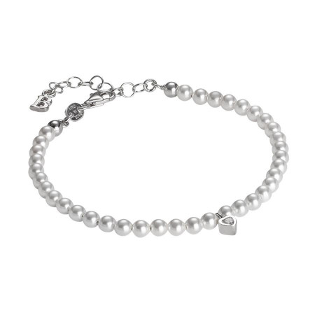 Bracciale in perle Swarovski e cuore centrale in zirconi