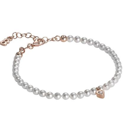 Bracciale rosato in perle Swarovski e cuore centrale in zirconi