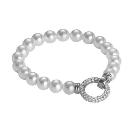 Bracciale con filo di perle Swarovski e chiusura a scatto in zirconi