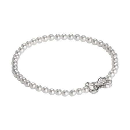 Bracciale di perle Swarovski e chiusura a cuore con zirconi