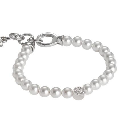 Bracciale con perle Swarovski e centrale in zirconi e argento