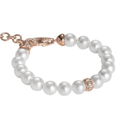Bracciale rosato con perle Swarovski e passante centrale in argento e zirconi