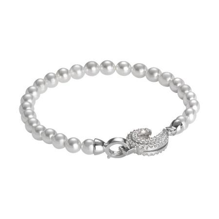 Bracciale di perle Swarovski con ricciolo di zirconi