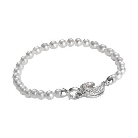 Bracciale di perle Swarovski con chiusura a ricciolo di zirconi