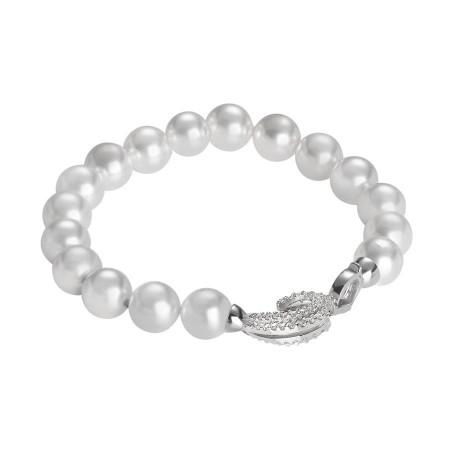 Bracciale di perle bianche Swarovski con chiusura in argento e zirconi