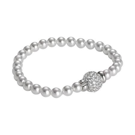 Bracciale di perle Swarovski con chiusura barilotto in argento e zirconi