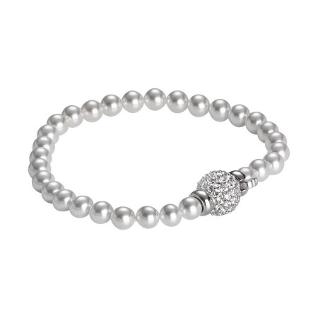 Bracciale rodiato di perle Swarovski con chiusura barilotto in argento e zirconi