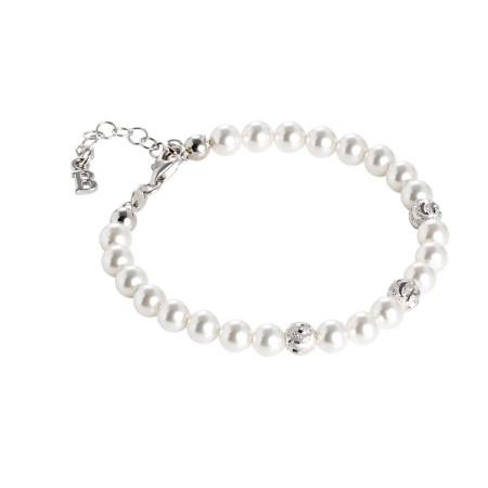 Bracciale con perle Swarovski e sfere diamantate effetto ondulato