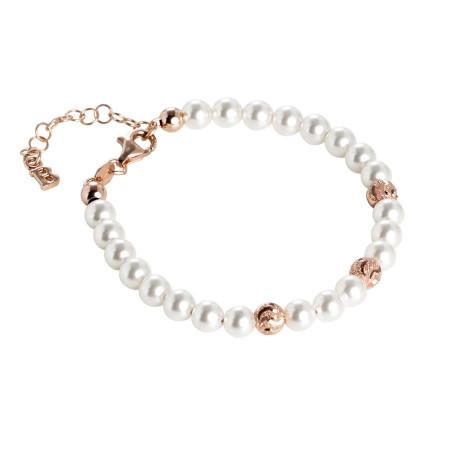 Bracciale rosato con perle Swarovski e sfere diamantate effetto ondulato