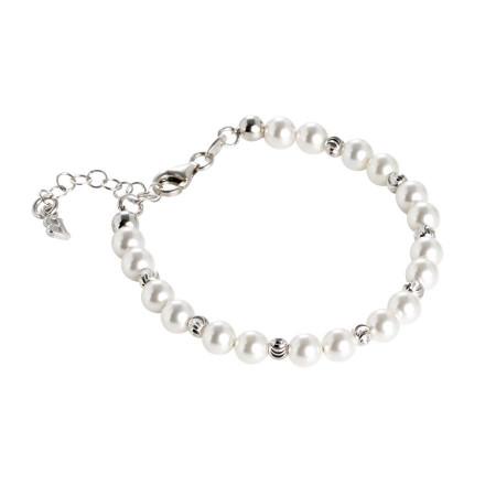 Bracciale con perle Swarovski alternate a sfere diamantate
