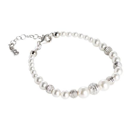 Bracciale con filo di perle Swarovski e passanti in argento diamantato