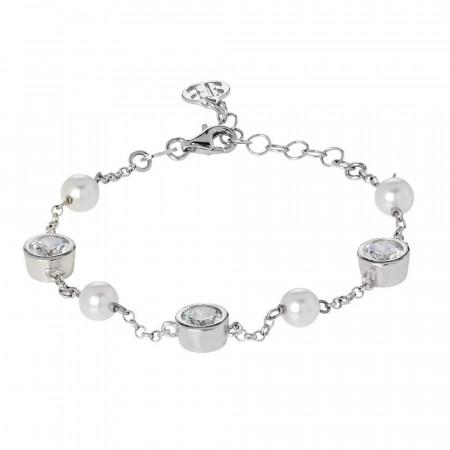 Bracciale con passanti di zirconi taglio diamante e perle bianche Swarovski