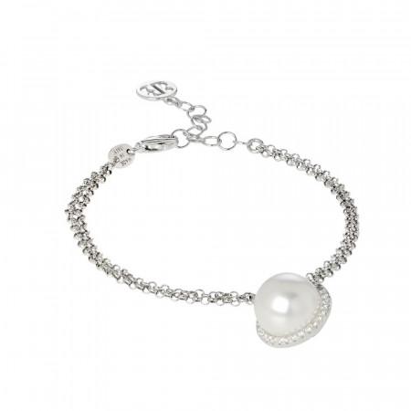 Bracciale con perla bianca Swarovski e pavè di zirconi