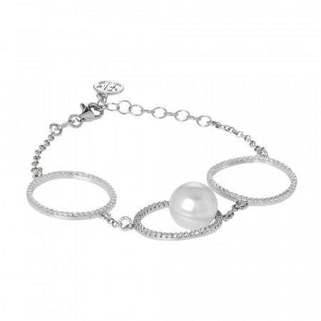 Bracciale con pavè di zirconi e perla Swarovski