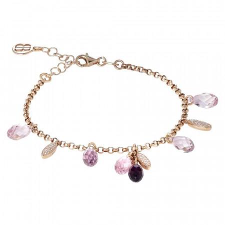 Bracciale in argento placcato oro rosa con zirconi e Swarovski dalle sfumature lilla