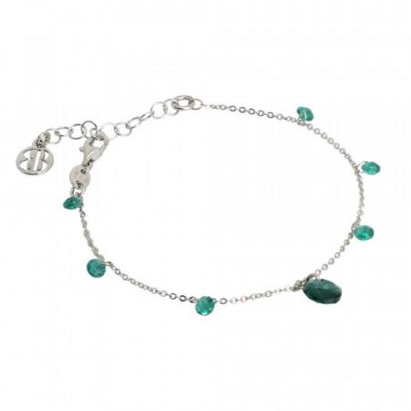 Bracciale con zirconi e Swarovski color smeraldo