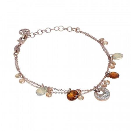 Bracciale doppio filo in argento placcato oro rosa con zirconi e Swarovski dorati