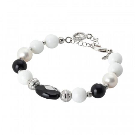 Bracciale rodiato con perle naturali, ossidiana e agata bianca